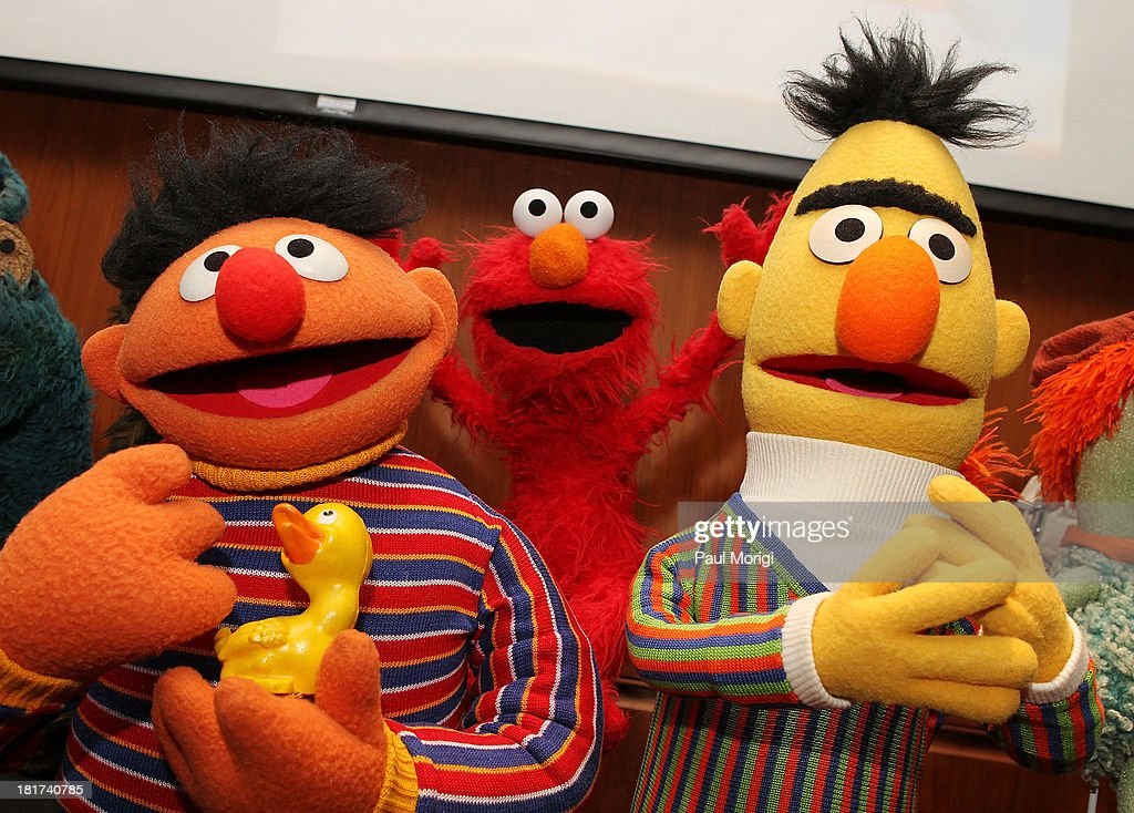 Muppets Ernie Elmo and Bert on display at a special National Museum of American History ceremony to receive more than 20 puppets and props from the...