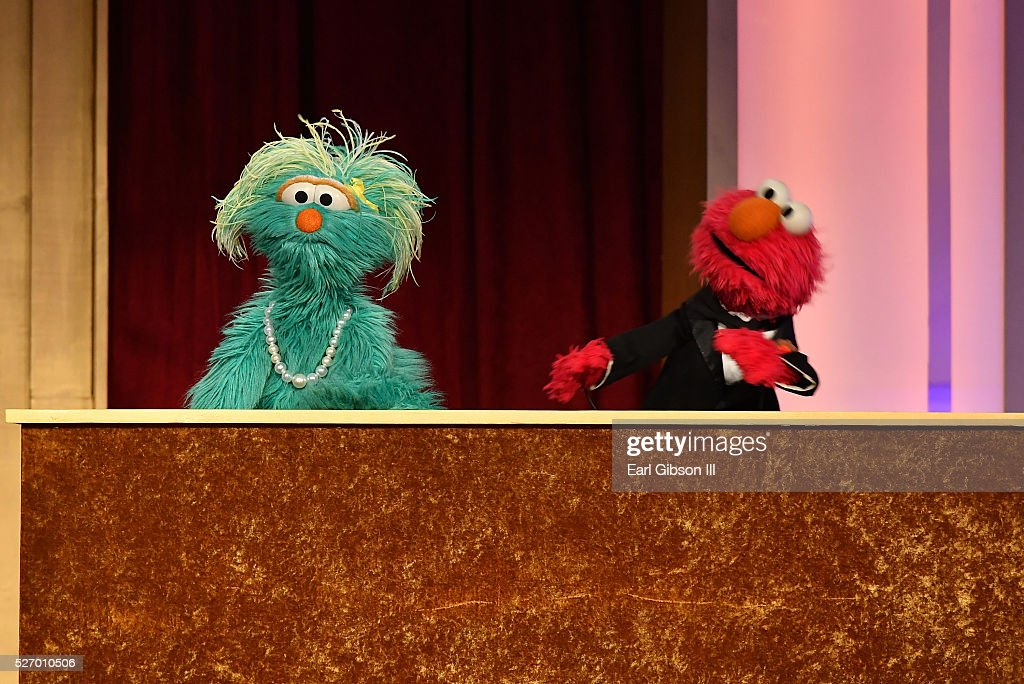 Muppets Rosita and Elmo speak onstage at the 43rd Annual Daytime Emmy Awards at the Westin Bonaventure Hotel on May 1, 2016 in Los Angeles, California.