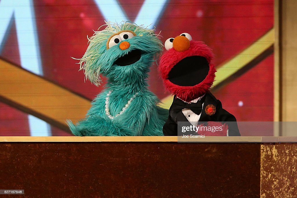 Muppets Rosita and Elmo speak onstage at the 43rd Annual Daytime Emmy Awards at the Westin Bonaventure Hotel on May 1, 2016 in Los Angeles, California. Muppets Rosita and Elmo speak onstage at the 2016 Daytime Emmy Awards at Westin Bonaventure Hotel on May 1, 2016 in Los Angeles, California.