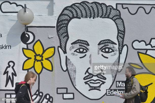 A mural '10 April 1943 the Anniversary of the Uprising in the Warsaw Ghetto' seen near the main train station in Warsaw On Tuesday April 26 in Warsaw...