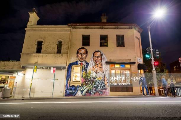 A mural by artist Scott Marsh depicting former Prime Minister Tony Abbott is seen in Redfern on September 11 2017 in Sydney Australia Australians are...