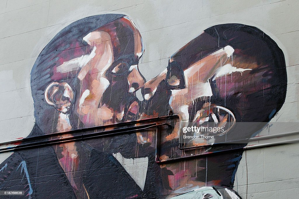 A mural by artist Scott Marsh is seen on Teggs Lane, Chippendale on March 31, 2016 in Sydney, Australia. The artist and the mural has received world wide attention, with the artist claiming he has been offered money to paint over the work.