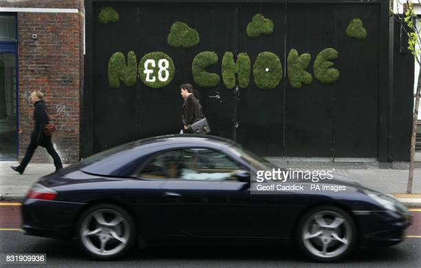A mural by ecoartist Sally McCaffrey at Old St east London with the words `No Choke` and an 8 sign signifying the cost of the congestion charge in...