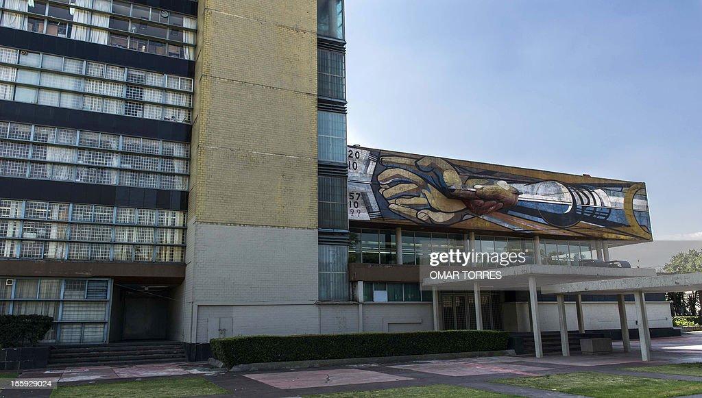 Mural by Mexican artist David Alfaro Siqueiros at the rectory of the UNAM (Universidad Nacional Autonoma de Mexico) on November 08, 2012 in Mexico City.