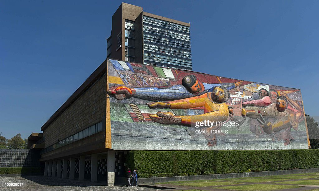 Mural by Mexican muralist David Alfaro Siqueiros at one of the sides of the rectory of the UNAM (Universidad Nacional Autonoma de Mexico) on November 08, 2012 in Mexico City. AFP PHOTO/OMAR TORRES