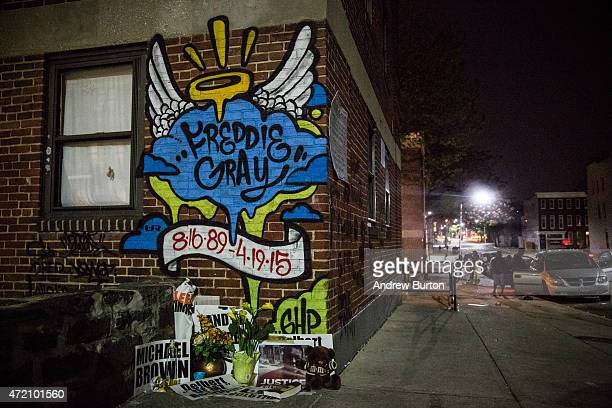 A mural dedicated to Freddie Gray is seen on a wall of the Gilmor Home in the Sandtown neighborhood where he was arrested on May 3 2015 in Baltimore...