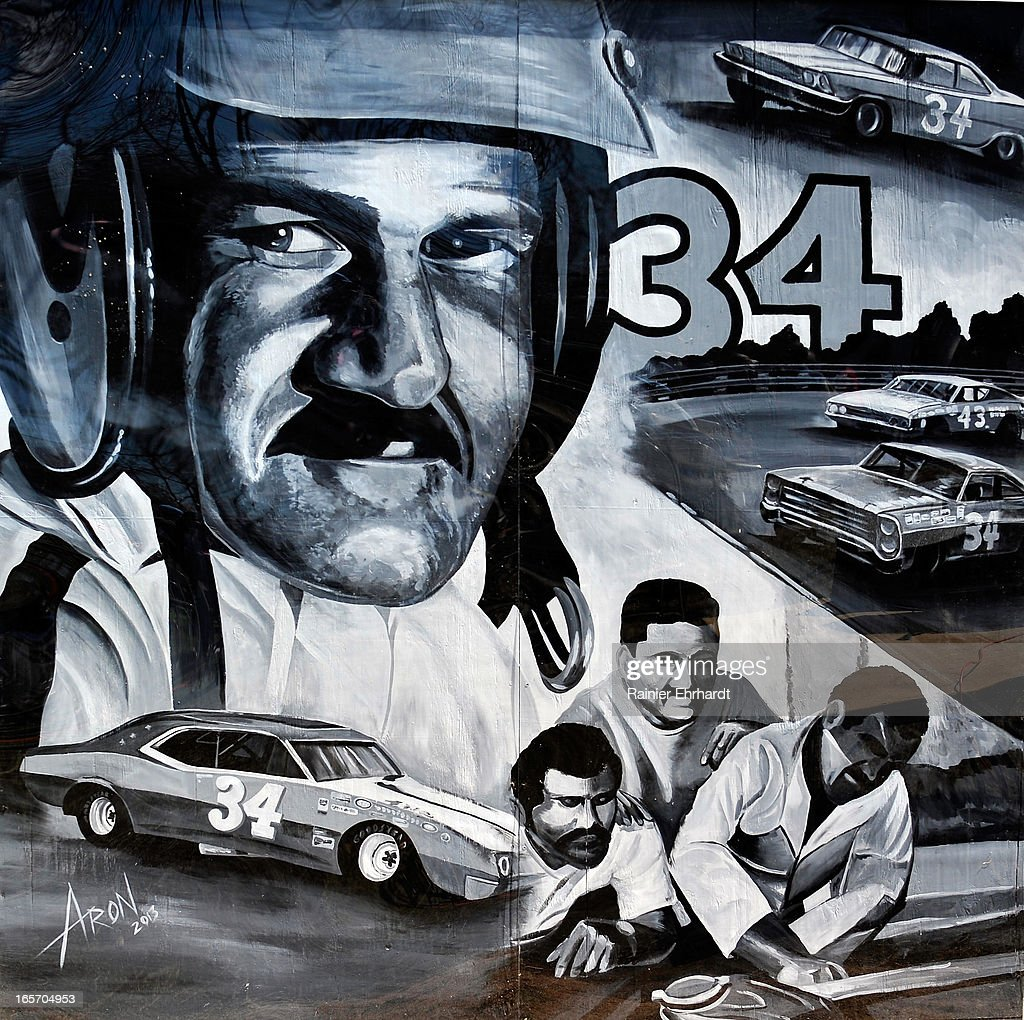 A mural depicting former NASCAR driver Wendell O. Scott Sr. is shown painted on the side of his garage during a ceremony for the unveiling of a historical marker in his honor on April 5, 2013 in Danville, Virginia.