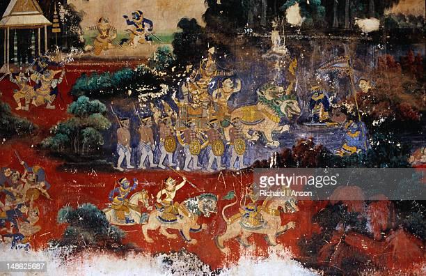 Mural depicting the Ramayana on wall of compound enclosing Silver Pagoda at the Royal Palace.