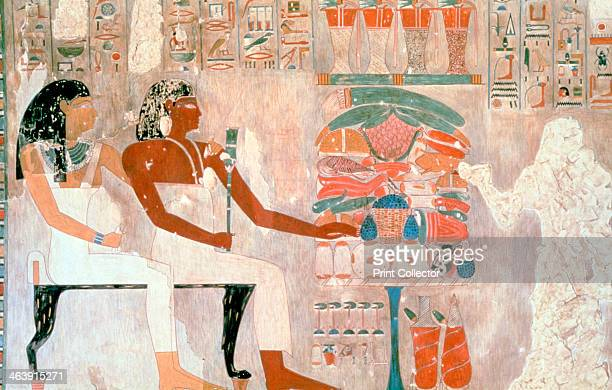 Mural from the Tombs of the Nobles Thebes Luxor Egypt The Tombs of the Nobles are tombs of priests and officials dating from the 17th to the 20th...