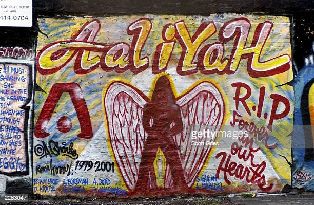 A mural in memory of actress and R B singer Aaliyah painted on the side of a building in the East Village in New York City 8/28/01 Photo by Scott...
