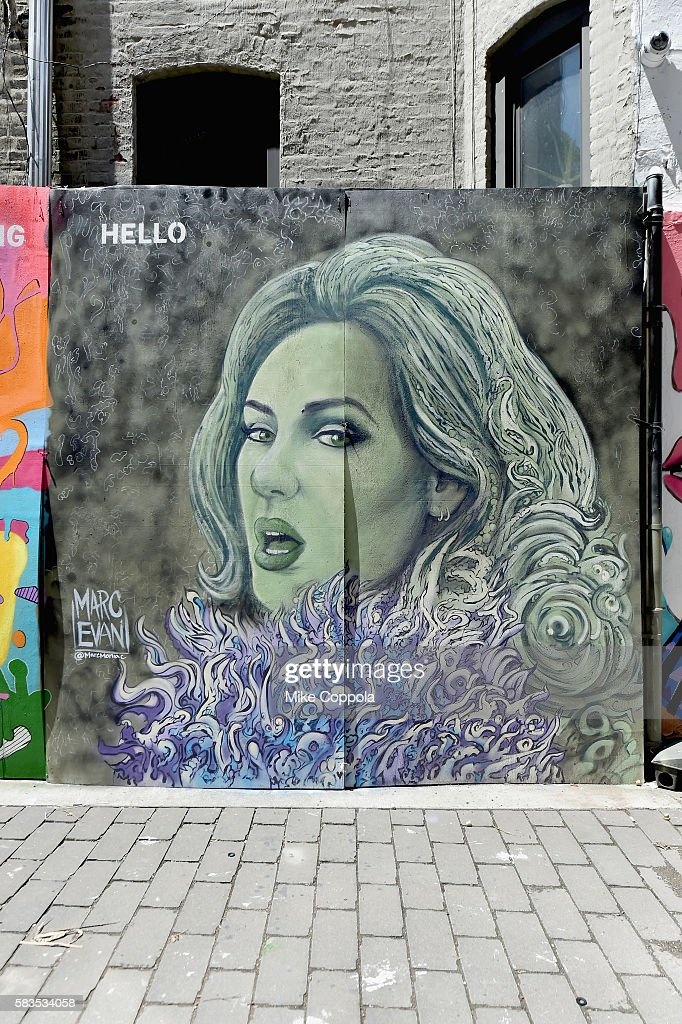 A mural is unveiled announcing the 2016 MTV Video Music Awards nominations in First Street Green Art Park on July 25, 2016 in New York City. MTV nominee Adele -Hello.
