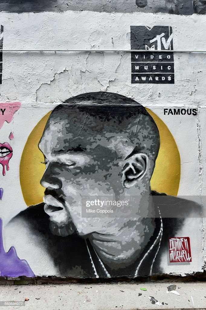 A mural is unveiled announcing the 2016 MTV Video Music Awards nominations in First Street Green Art Park on July 25, 2016 in New York City. MTV nominee Kanye West- Famous.