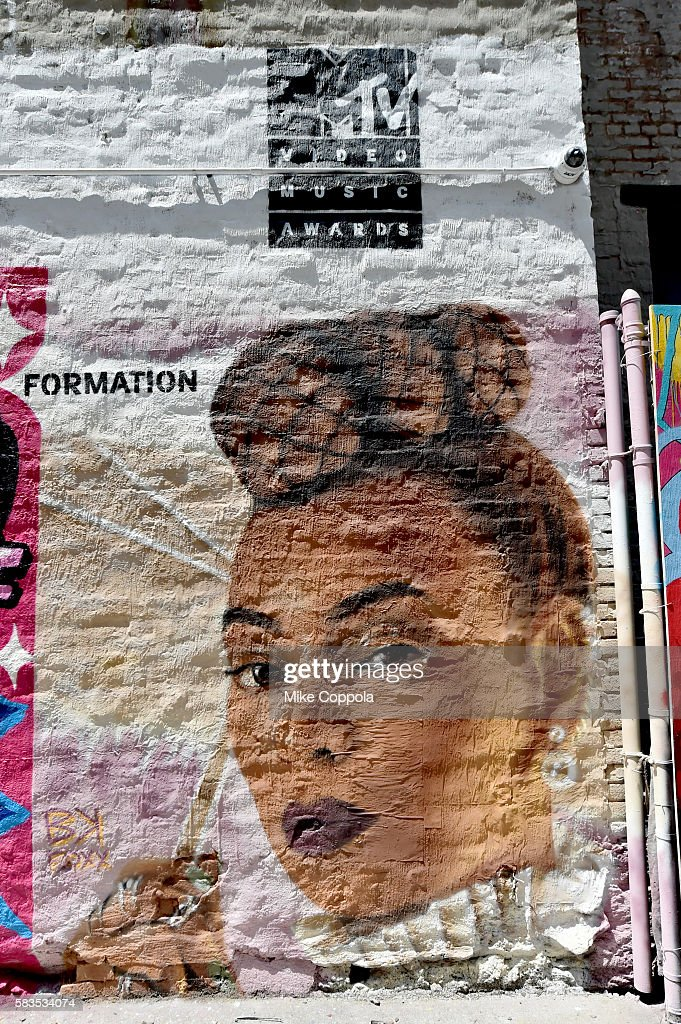 A mural is unveiled announcing the 2016 MTV Video Music Awards nominations in First Street Green Art Park on July 25, 2016 in New York City. MTV nominee Beyonce-Formation.