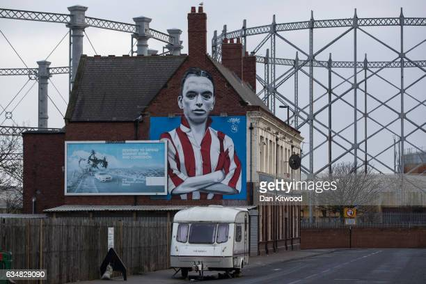 A mural of a Sunderland football hero Raich Carter adorns the wall of the Blue Bell Pub in Hendon his former home area on February 7 2017 in...