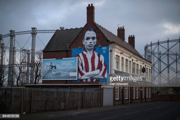 A mural of a Sunderland football hero Raich Carter adorns the wall of the Blue Bell Pub in Hendon his former area on February 7 2017 in Sunderland...