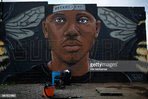 A mural of activist Kwame Rose by the artist Nether adorns a wall near the location where Freddie Gray was arrested August 10 2016 in Baltimore...