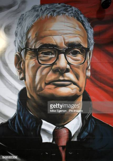 A mural of former Leicester City manager Claudio Ranieri before the Carabao Cup third round match at the King Power Stadium Leicester