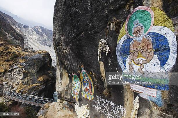 Mural of Guru Rinpoche, Solu Khumbu Everest Region, Sagarmatha National Park, Nepal, Asia