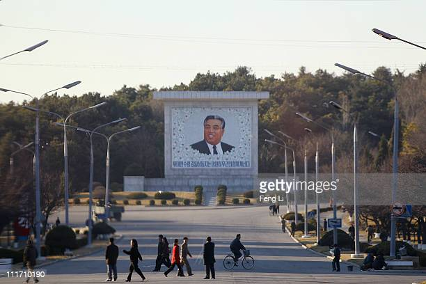 A mural of Kim Il Sung founder of North Korea stands on April 3 2011 in Pyongyang North Korea Pyongyang is the capital city of North Korea and the...