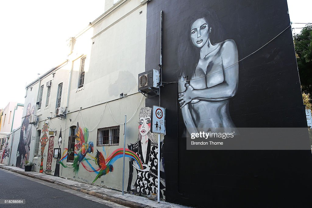 A mural of Kim Kardashian by artist Lushsux is seen near a mural by artist Scott Marsh is seen on Teggs Lane, Chippendale on March 31, 2016 in Sydney, Australia. The artist and the mural has received world wide attention, with the artist claiming he has been offered money to paint over the work.