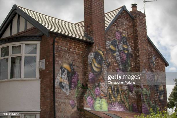 A mural of the worker bee by artist Russell Meeham also know as Qubek adorns the side of a home in Stretford on July 3 2017 in Manchester England The...