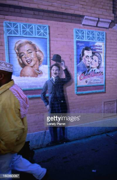 Mural on Sony/Loews Cinema Harvard Square which screens old Hollywood classics and cult films, Boston.