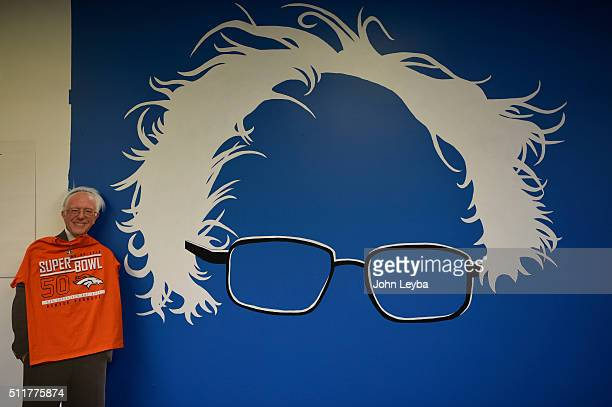 A mural painted on the wall as volunteers have a phone banking event in support of Bernie Sanders took place February 22 2016 at Bernie's headquarters