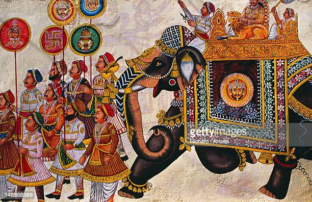 Mural painted on wall in Lal Ghat in old city.