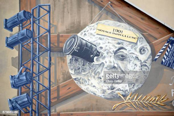 Mural Painting based on Georges Méliès Film 'A Trip to the Moon' (1902) Cannes