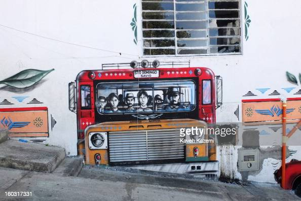 A mural seen in the urban spaces constructed near Spain Library on the hill in the midst of slums on January 5 2013 in Medellin Colombia The...