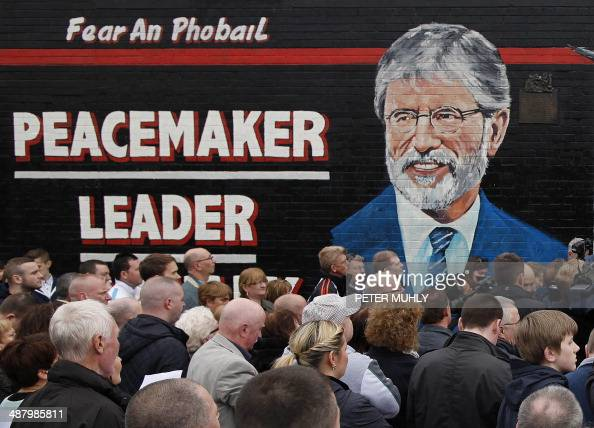 A mural showing Sinn Fein President Gerry Adams is pictured on the Falls Road in Belfast Northern Ireland on May 3 as people gather to hear Northern...