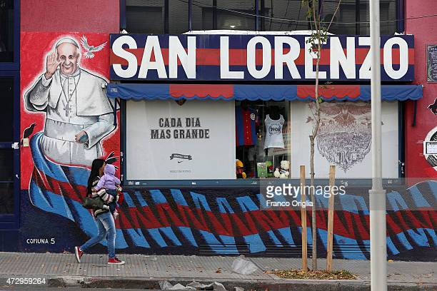 A murales featuring Pope Francis is seen in front the headquarter of Club Atletico San Lorenzo de Almagro the football club the Pope follows...