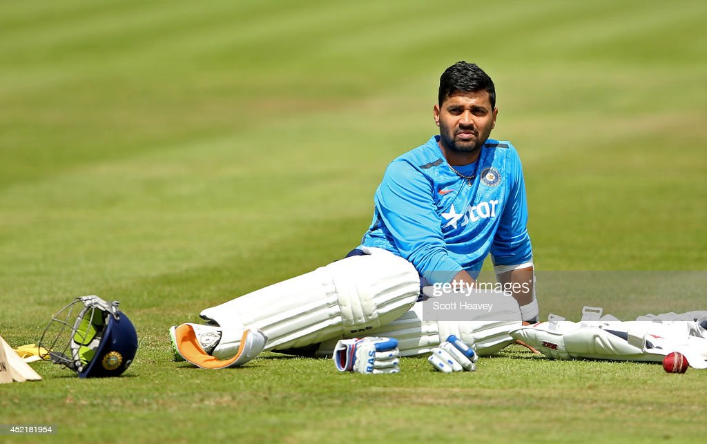 <a gi-track='captionPersonalityLinkClicked' href=/galleries/search?phrase=Murali+Vijay&family=editorial&specificpeople=5592328 ng-click='$event.stopPropagation()'>Murali Vijay</a> during an India nets session at Lords on July 15, 2014 in London, England.