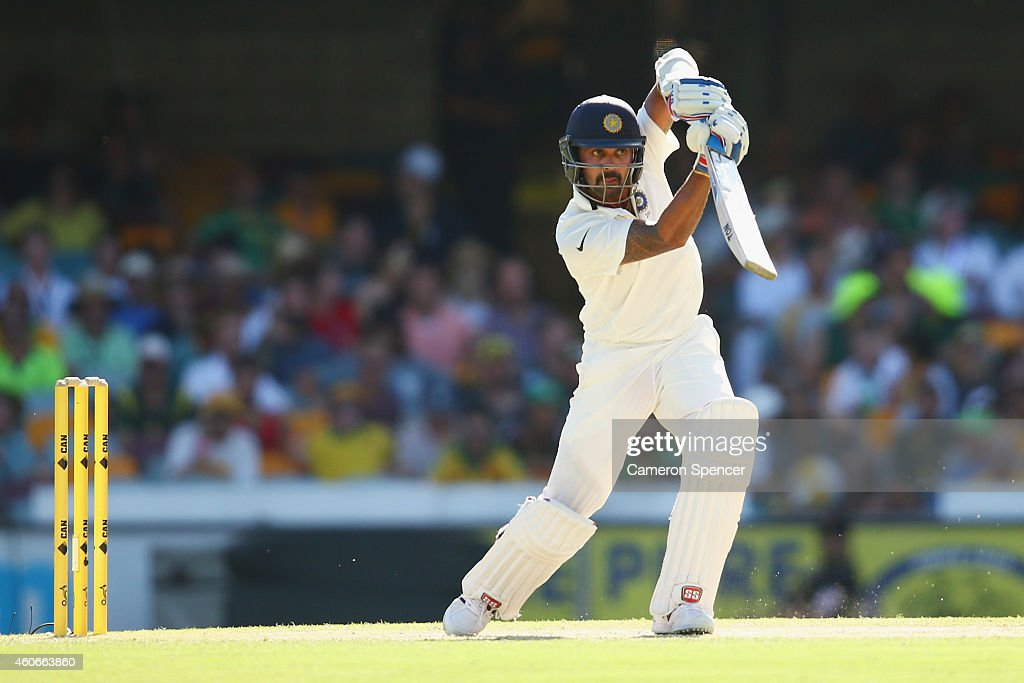<a gi-track='captionPersonalityLinkClicked' href=/galleries/search?phrase=Murali+Vijay&family=editorial&specificpeople=5592328 ng-click='$event.stopPropagation()'>Murali Vijay</a> of India bats during day three of the 2nd Test match between Australia and India at The Gabba on December 19, 2014 in Brisbane, Australia.