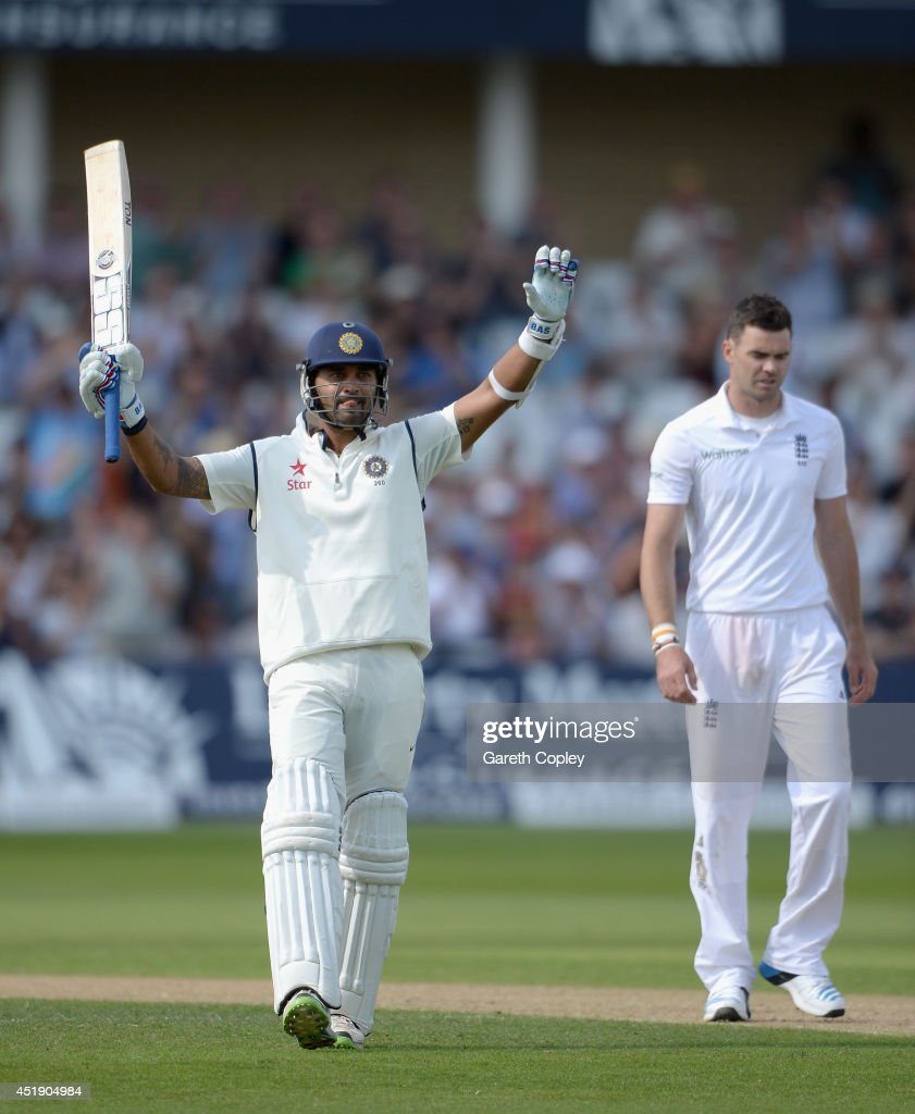 <a gi-track='captionPersonalityLinkClicked' href=/galleries/search?phrase=Murali+Vijay&family=editorial&specificpeople=5592328 ng-click='$event.stopPropagation()'>Murali Vijay</a> of India celebrates reaching his century during day one of 1st Investec Test match between England and India at Trent Bridge on July 9, 2014 in Nottingham, England.