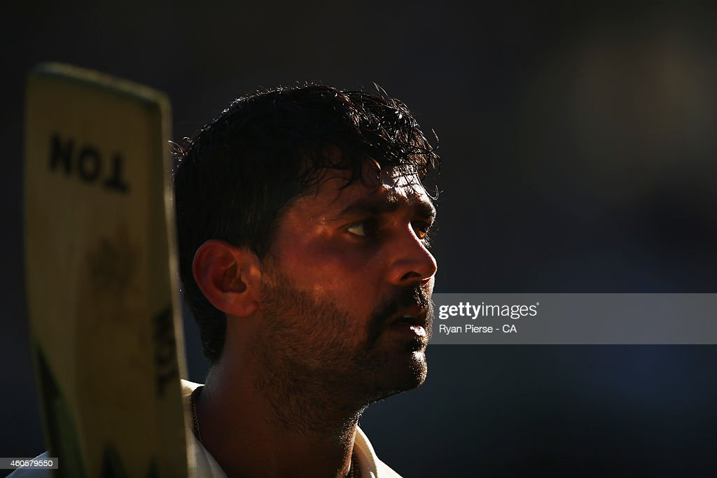<a gi-track='captionPersonalityLinkClicked' href=/galleries/search?phrase=Murali+Vijay&family=editorial&specificpeople=5592328 ng-click='$event.stopPropagation()'>Murali Vijay</a> of India leaves the ground after being dismissed for 144 runs by Nathan Lyon of Australia during day one of the 2nd Test match between Australia and India at The Gabba on December 17, 2014 in Brisbane, Australia.