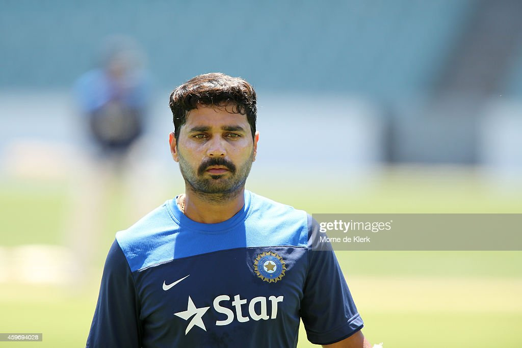 <a gi-track='captionPersonalityLinkClicked' href=/galleries/search?phrase=Murali+Vijay&family=editorial&specificpeople=5592328 ng-click='$event.stopPropagation()'>Murali Vijay</a> of India looks on during an India training session at Adelaide Oval on November 29, 2014 in Adelaide, Australia.