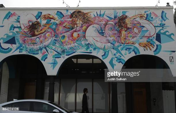 Murals adorn the exterior walls of a Snapchat office on February 8 2017 in Venice California Snap the parent company of popular multimedia mobile...