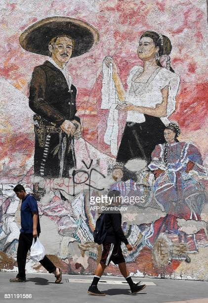 Murals painted at the newly renovated Mariachi Plaza in Boyle Heights California on July 28 2017 Trendy cafés and art galeries are the scene of...