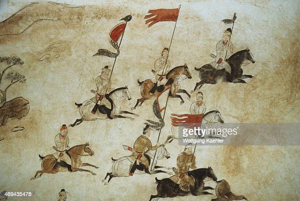 Murals picturing soldiers on horseback on the wall of the Qianling Mausoleum a Tang Dynasty tomb site located in Qian County Shaanxi province China...