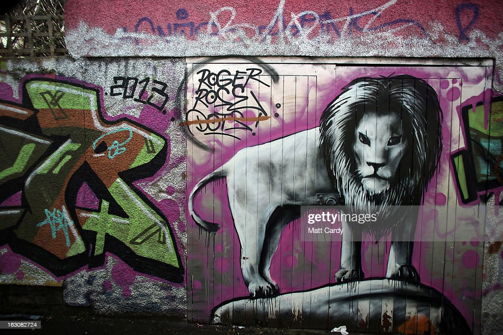 Murals which are close to where early examples of street artist Banksy work are still visible are seen in Easton on March 4, 2013 in Bristol, England. The Twentieth Century Society has launched a campaign to try and save some of the UK's best known post-war murals which like much of the early artwork of graffiti artist Banksy has been destroyed, defaced or just left to deteriorate.