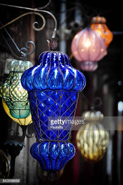 Murano glass lamps,on the streets of Venice