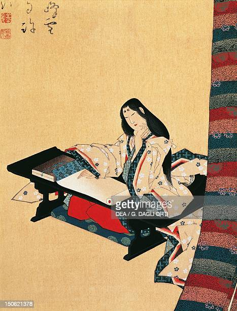 Murasaki Shikibu 10th11th century author and poet from the Fujiwara family kakemono on silk Japan Japanese Civilisation