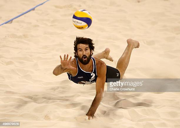 Murat Giginoglu of Turkey dives for the ball during day four of the FIVB Qatar Open at The Al Gharafa Sports Club on November 12 2015 in Doha Qatar