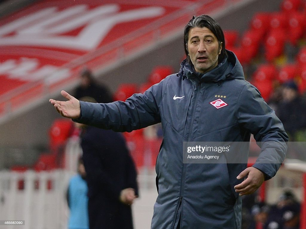 <a gi-track='captionPersonalityLinkClicked' href=/galleries/search?phrase=Murat+Yakin&family=editorial&specificpeople=2383035 ng-click='$event.stopPropagation()'>Murat Yakin</a> head coach of FC Spartak Moscow reacts during the Russian Premier League match between FC Spartak Moscow and FC Krasnodar at the Arena Otkritie Stadium on March 08, 2015 in Moscow, Russia.