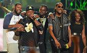 Murda Mook and Snoop Dogg performs at the BET Hip Hop awards at Boisfeuillet Jones Atlanta Civic Center on September 20 2014 in Atlanta Georgia