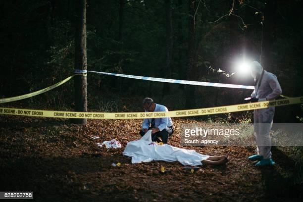 Murder crime scene in forest