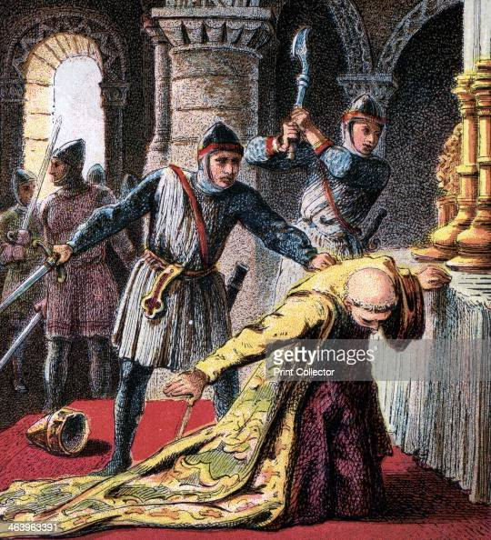'Murder Of Thomas A Becket' A sword's crushing blow extinguished the life of Thomas Becket Archbishop of Canterbury Colour plate from Pictures of...