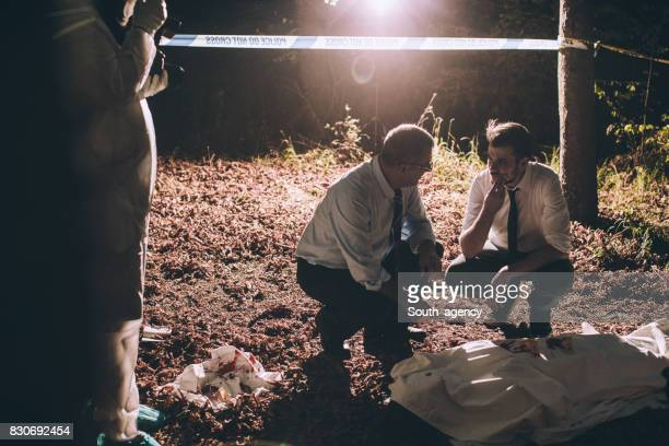 Murder scene in forest