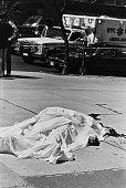A murder victim on Columbus Avenue in Manhattan New York City 1990